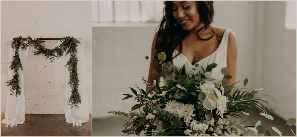 White and green florals for this modern wedding inspiration