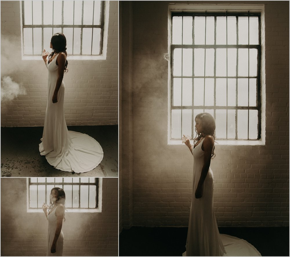 Unique bride portraits with perfume bottle