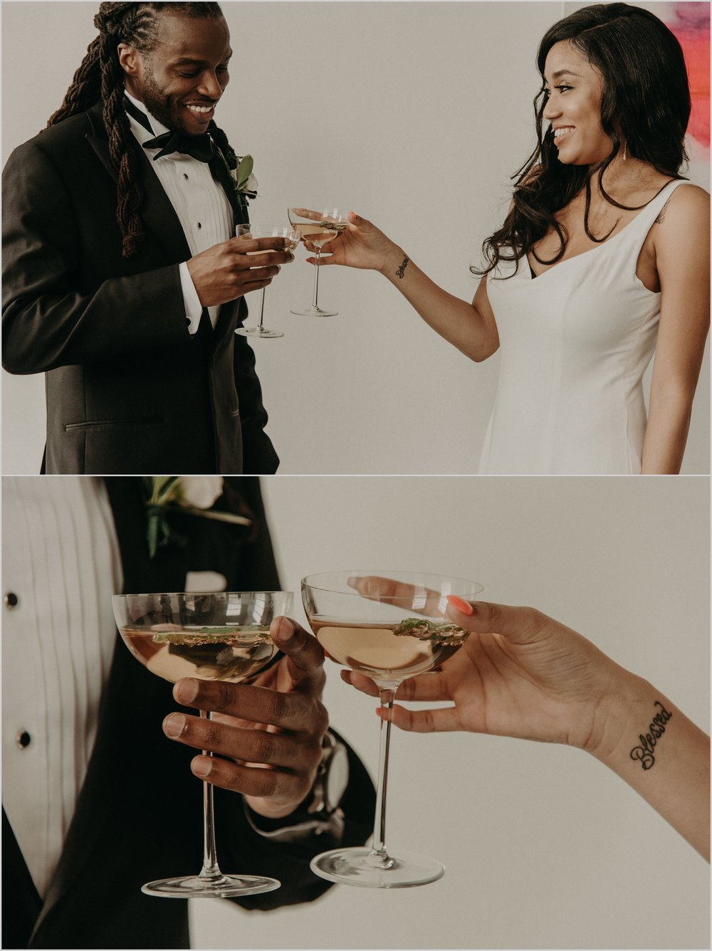 Bride and groom toast each other #blessed