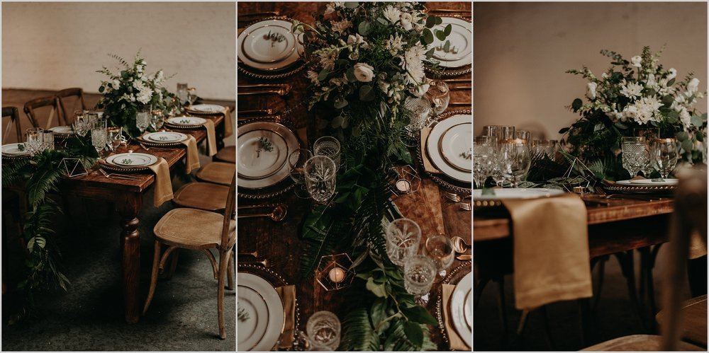 Moody and modern wedding tablescape