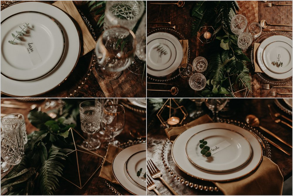 Gold and green accents for this moody table styling
