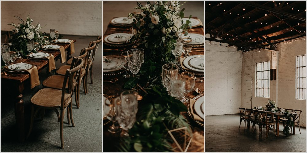 Minimalistic wedding design at The Brickyard Marietta in Atlanta, Georgia
