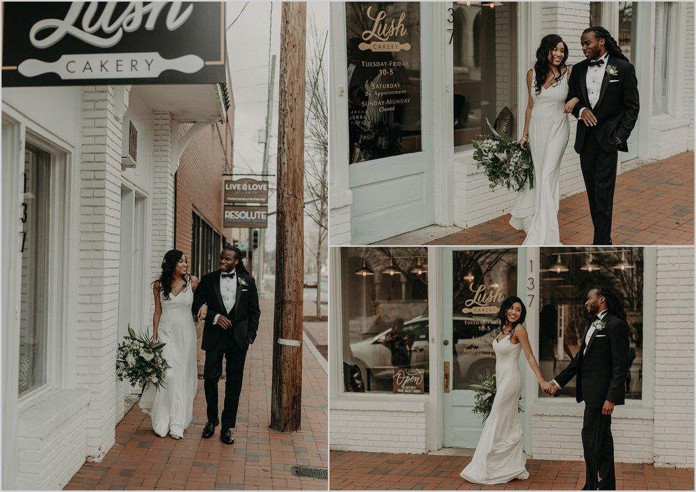 Wedding couple strolls down the cobblestone streets in Marietta, Georgia