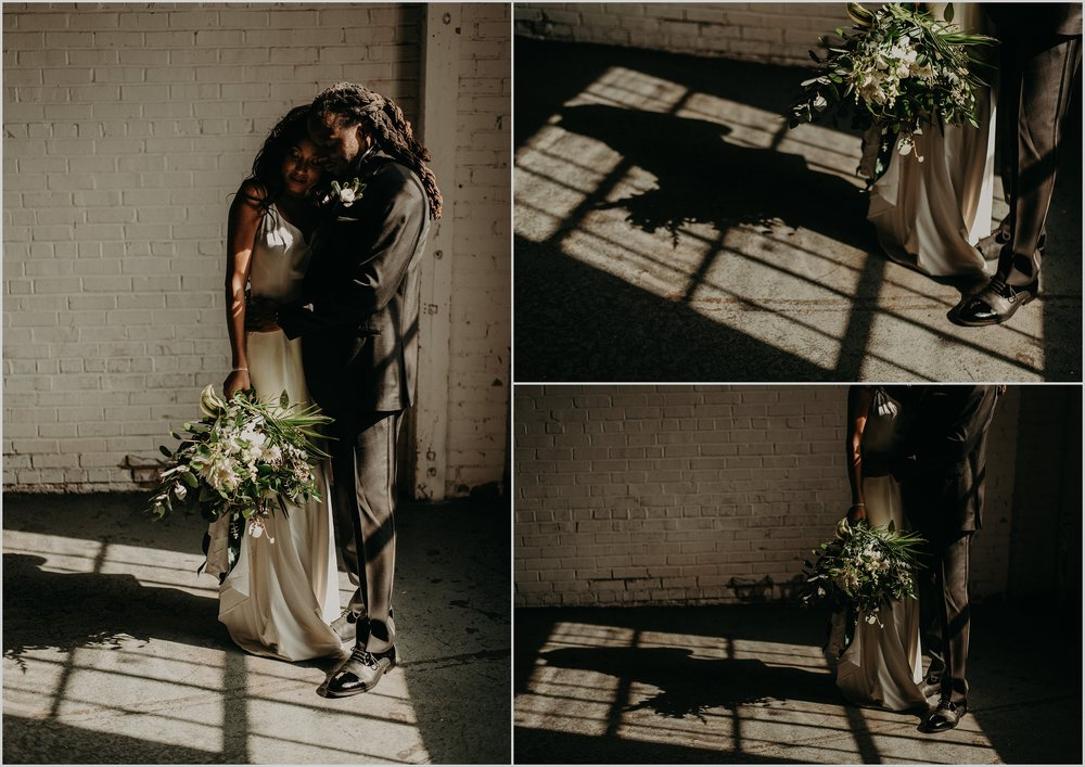 Dramatic shadow portraits of bride and groom