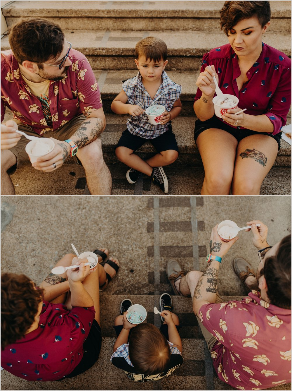 Parents and their son, Louie sit on the steps to eat their ice cream during their family photo session