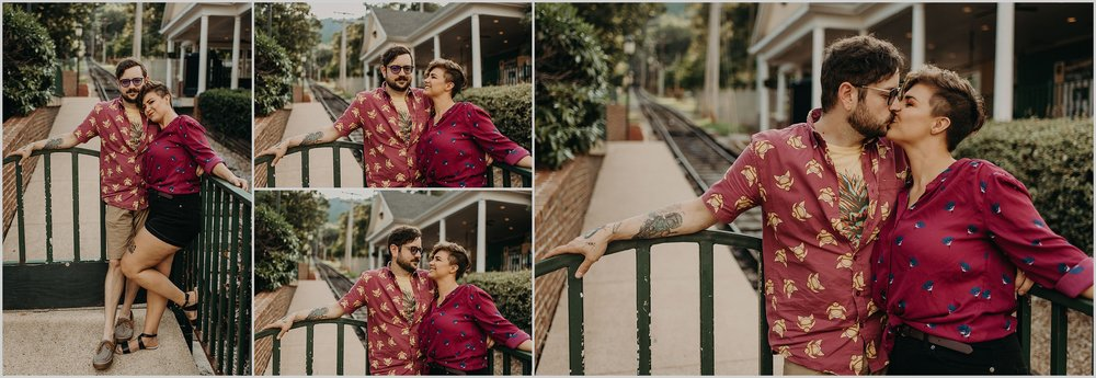 Mom and dad sneak a kiss during family photo session