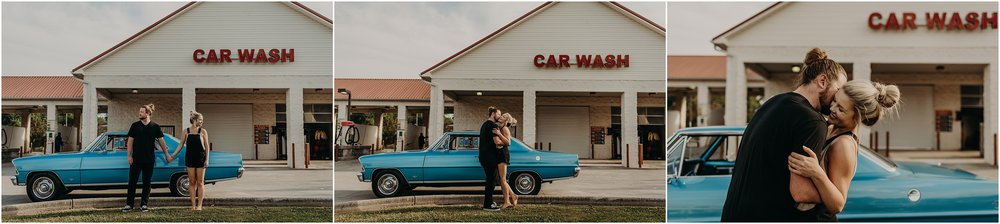 Engagement Session with Taylor English Photography at a car wash in Chattanooga, Tennessee