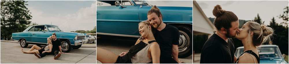 Cool couple leans against a Chevy Nova SS for their love story session