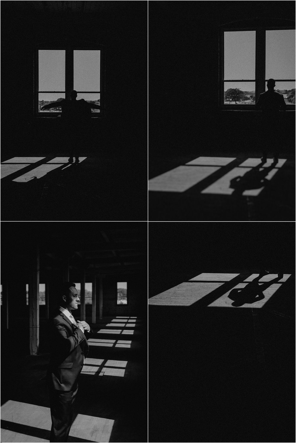 Dramatic black and white images of the groom in the empty warehouse space at Co 251
