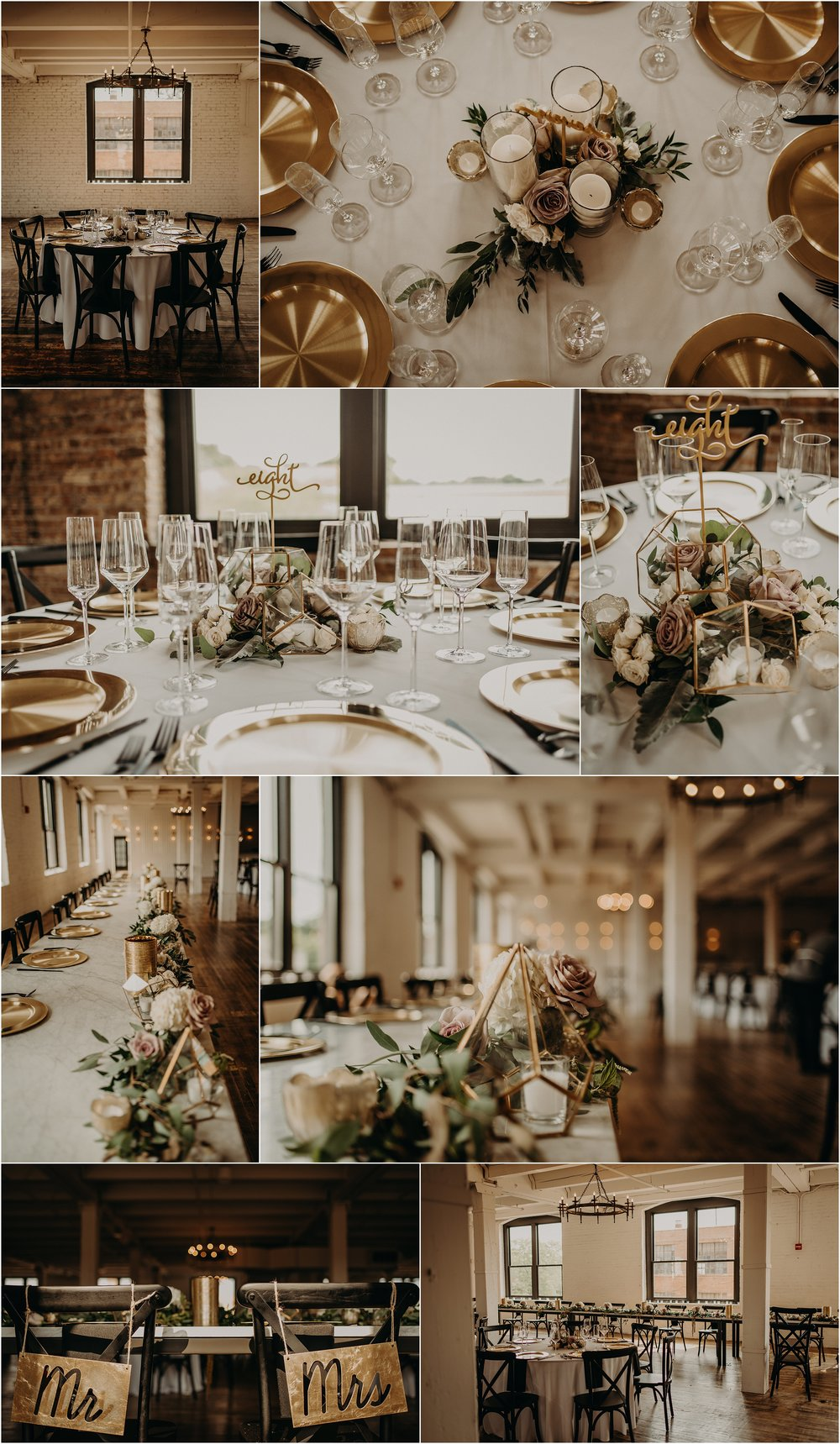 Gold, blush, and greenery with geometric accents for this chic, modern Chicago wedding