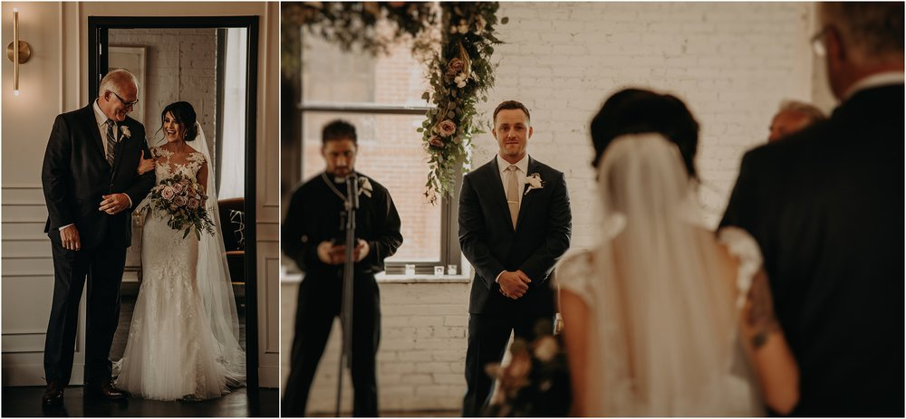 The father-of-the-bride walks his daughter down the aisle to her teary-eyed groom