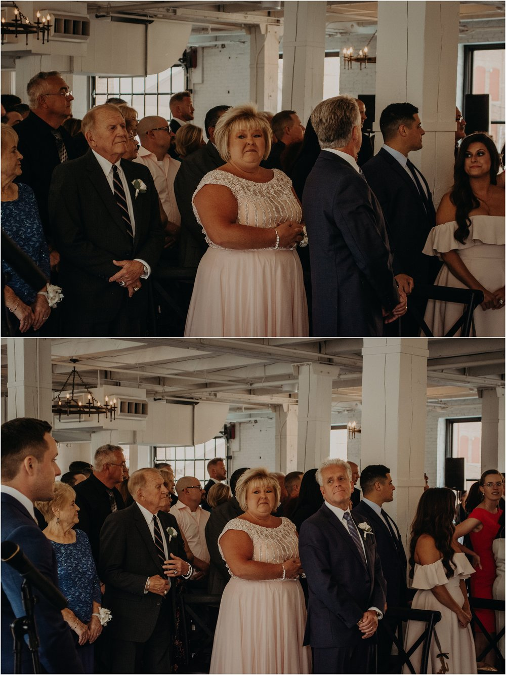 While everyone watches the bride, the mother and father of the groom watch him.