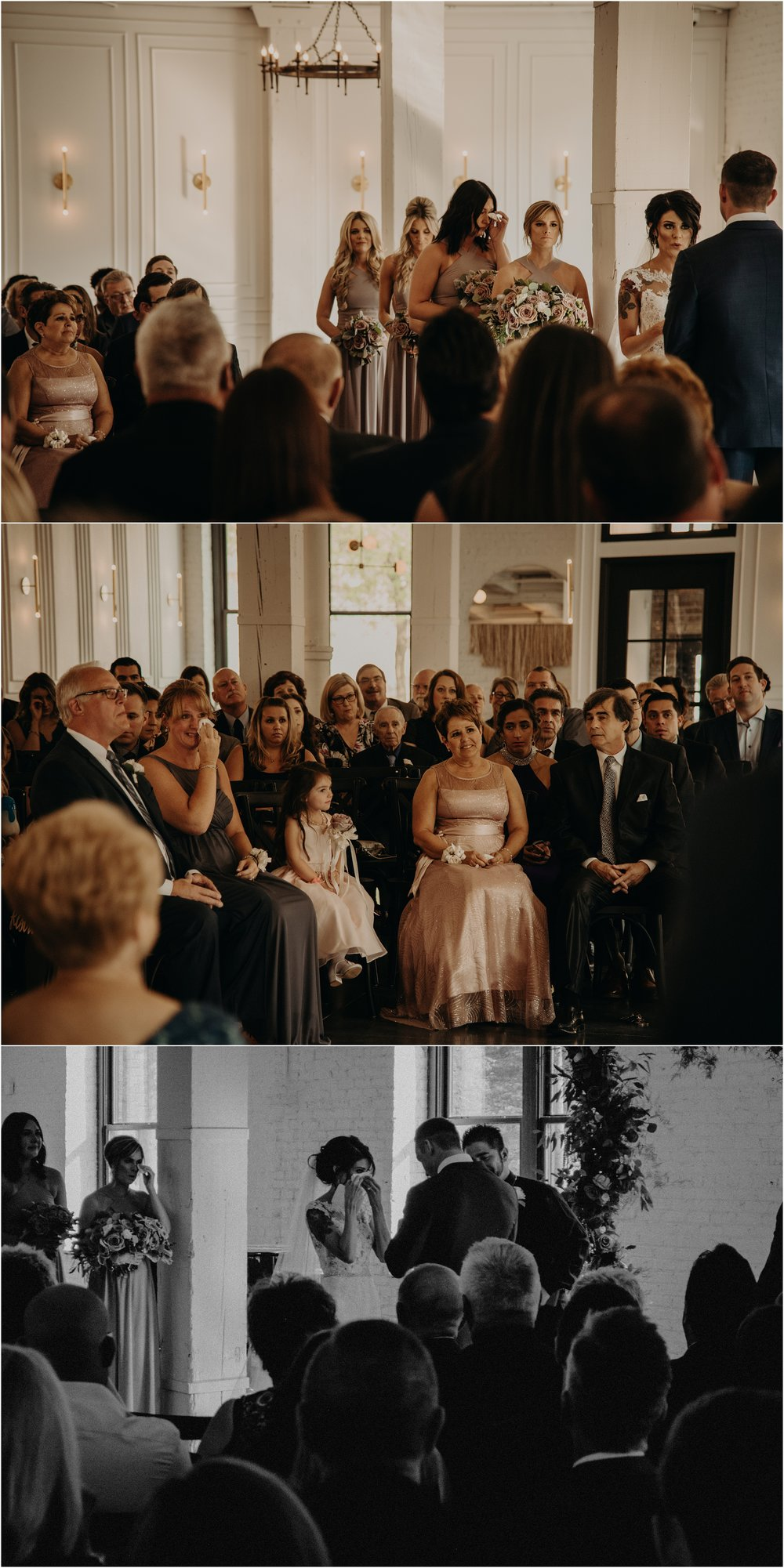 A teary audience during the vow reading of Kate + Joe's ceremony