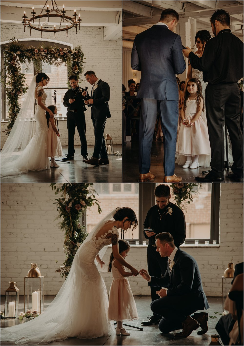 The groom reads his vows to his new stepdaughter and gives her a ring to wear too