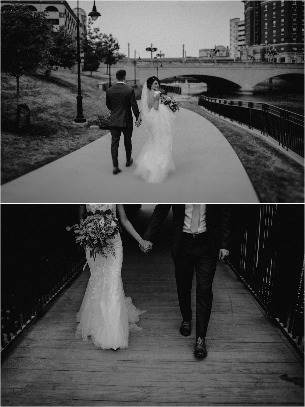 Bride and groom walk beneath the bridge in Aurora, Illinois