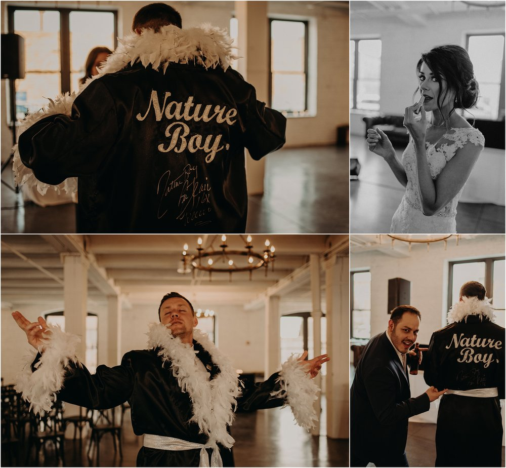 The bride and groom prepare to make their reception grand entrance in his Nature Boy wrestling robe