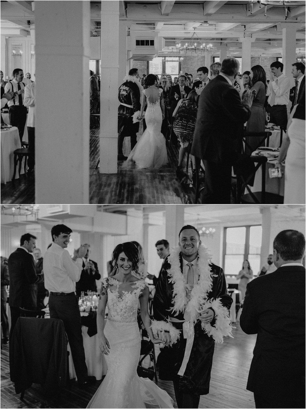 Bride and groom walk through their guests to their head table