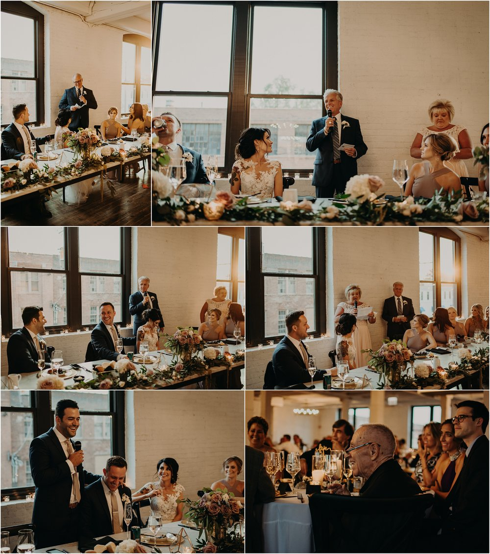 The toasts are given as guests laugh and cry