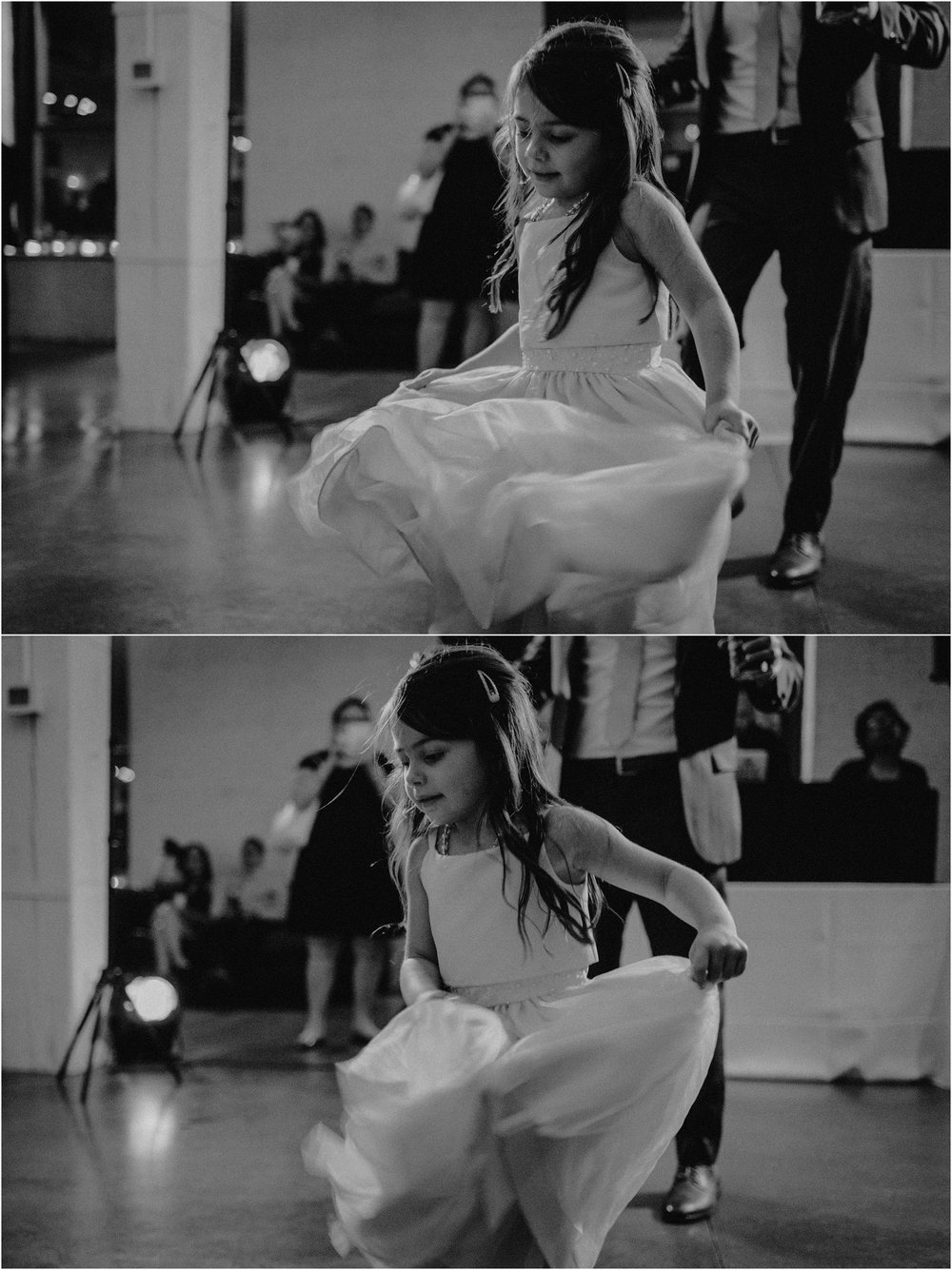 The couple's young daughter dances during the reception
