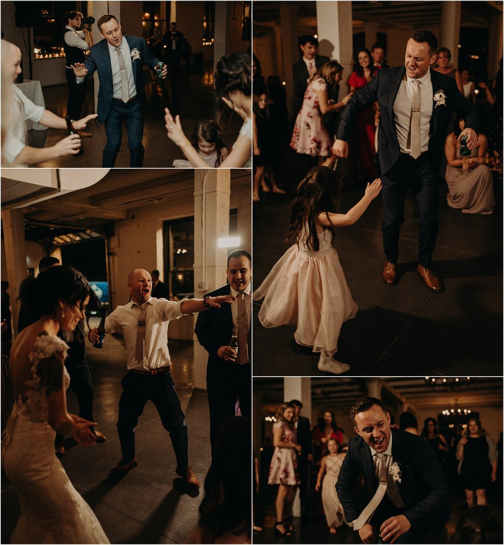 The groom dances