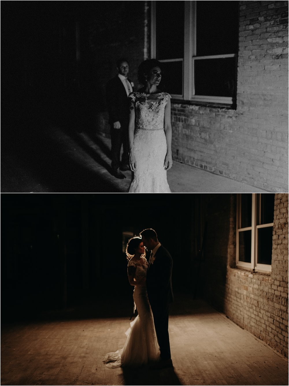 Ghost-like bride and groom portraits in the unfinished level of the wedding venue
