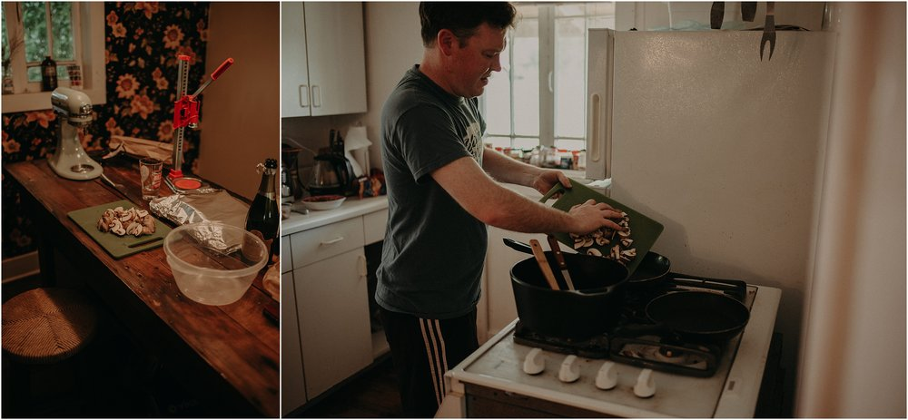 The best man prepares breakfast for the quartet before the elopement ceremony