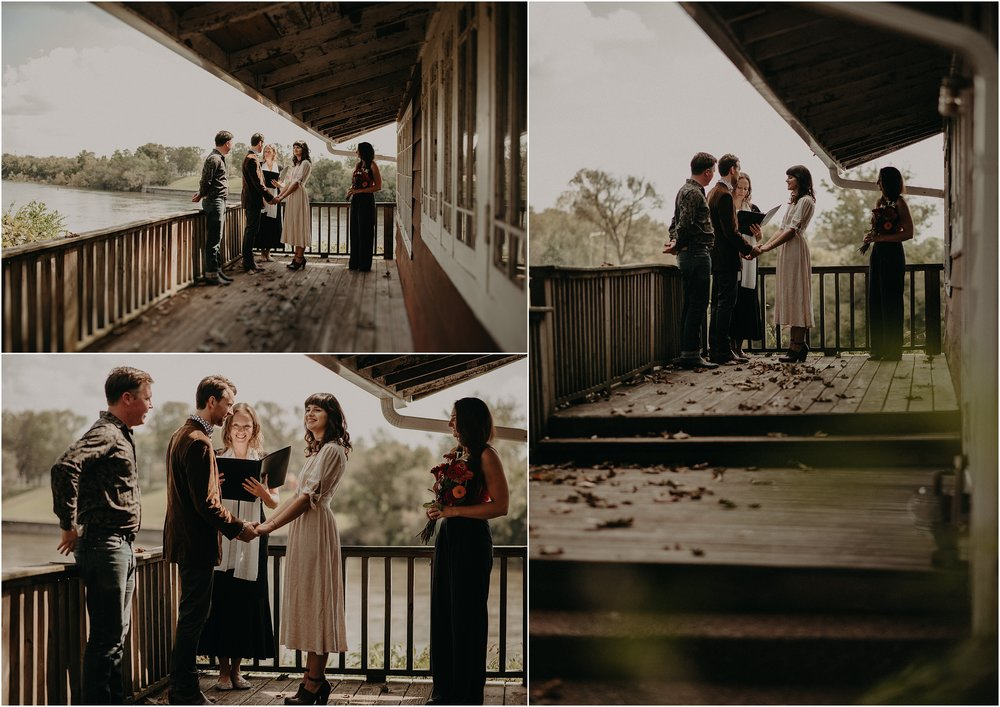 An elopement ceremony on the porch of their Nashville, Tn cottage