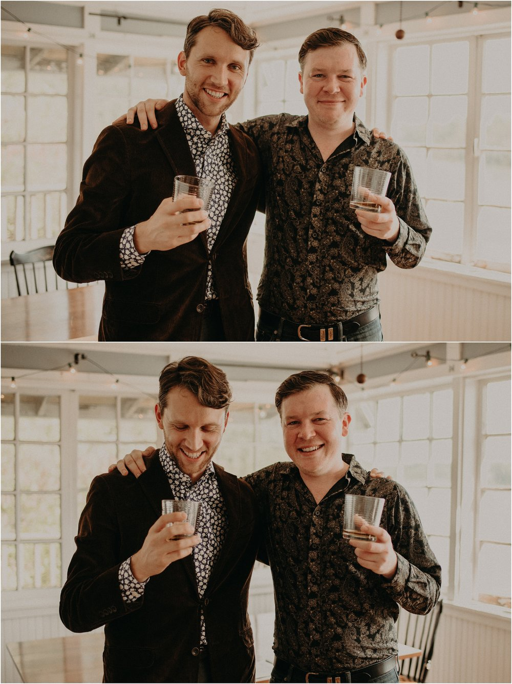 The groom and his best man share a glass of scotch together