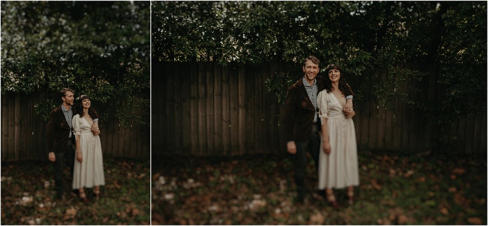 Backyard portraits of the bride and groom at their home in Nashville, Tennessee