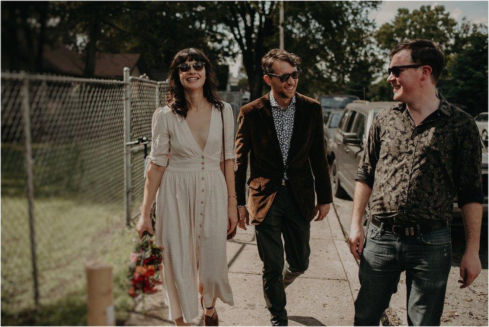 Ultra hip couple walks through downtown Nashville, TN