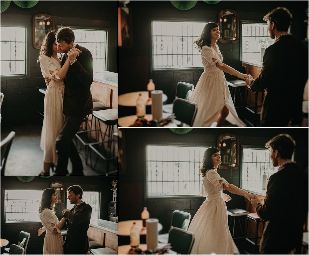 The bride and groom share their first dance in the Mas Tacos restaurant in Nashville, Tennessee
