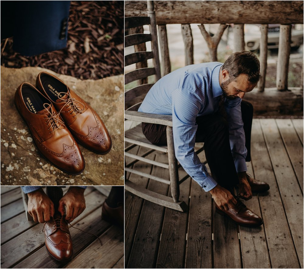 The groom ties his shiny shoes on the front porch of his Lookout Mountain cabin