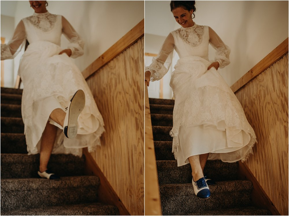 The bride kicks up her blue Oxford shoes
