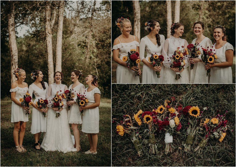 Wildflower bouquets and all white dresses for the bridal party
