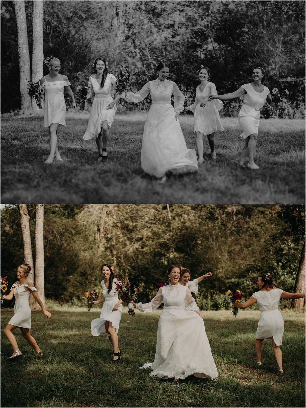 Bridal party skips through the field