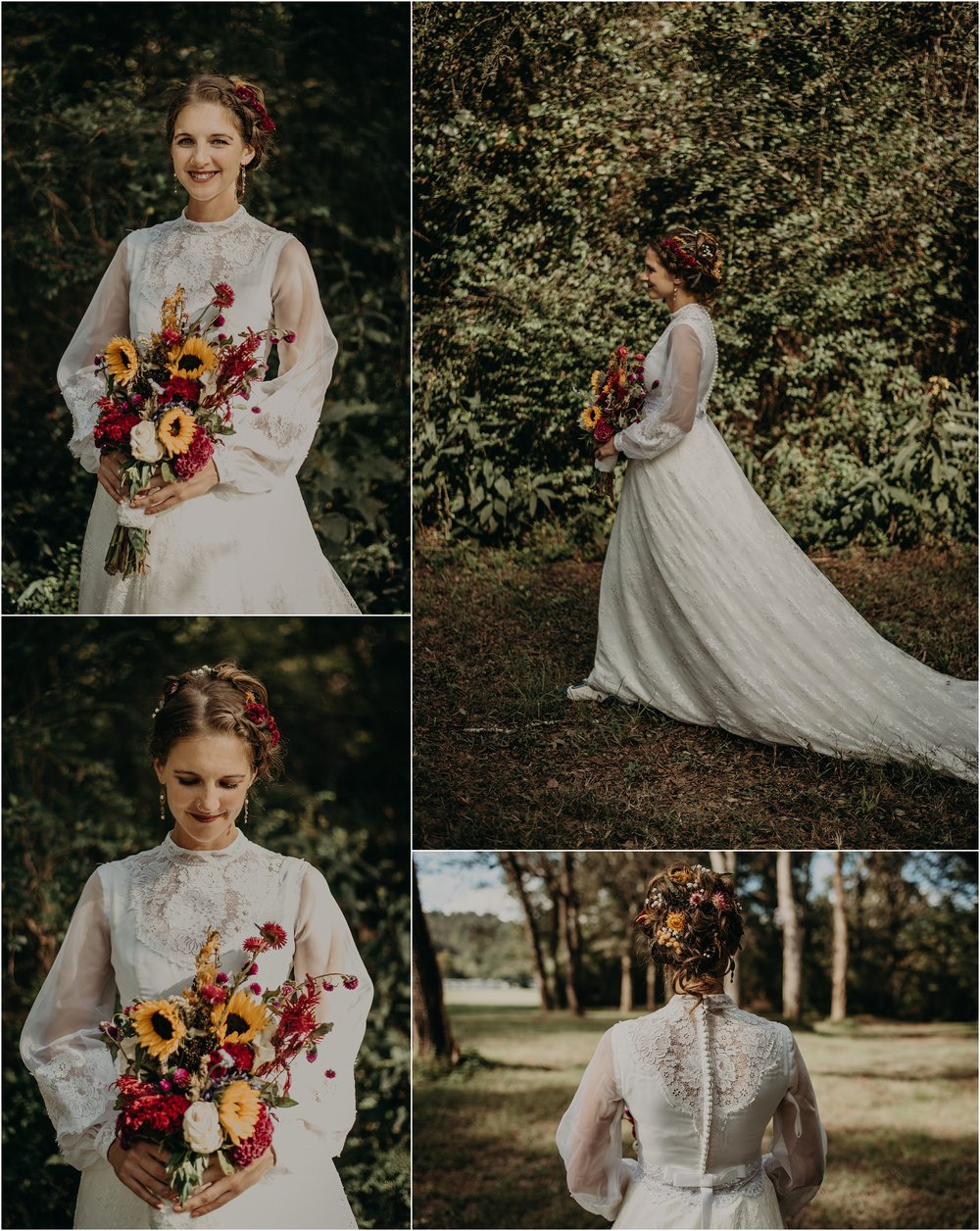 The bride's vintage thrifted wedding gown from the 70's with wildflowers in her hair