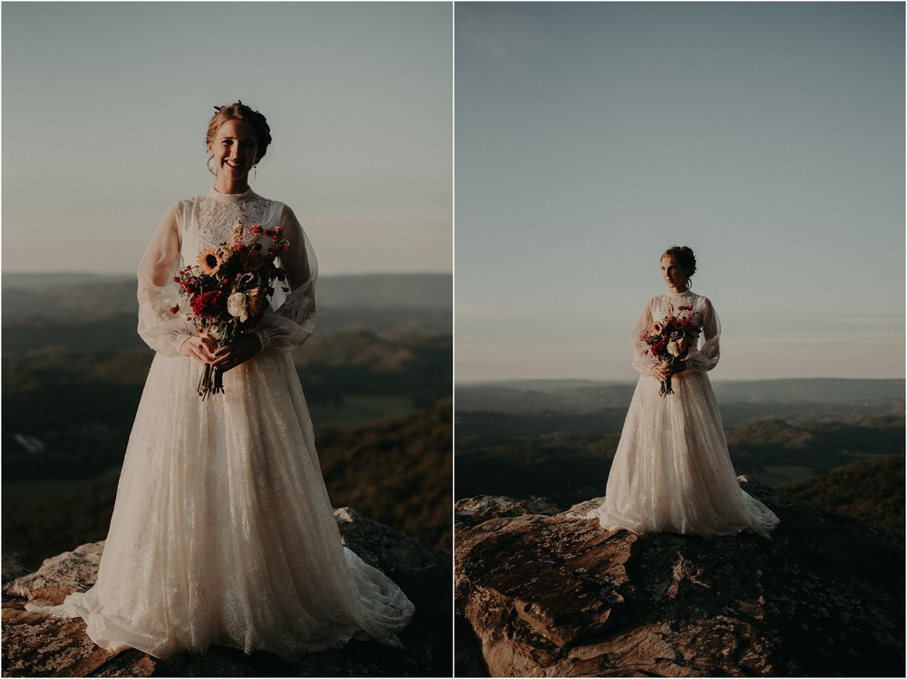 The bride on top of Lookout Mountain, Georgia at sunset