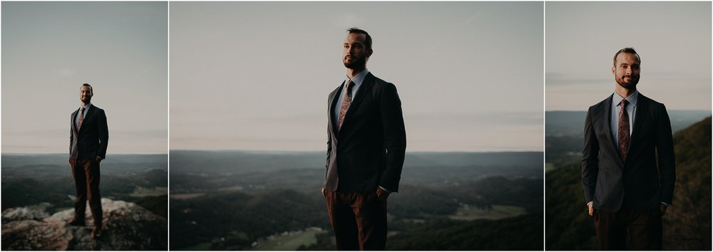 Portraits of the groom on an overlook on Lookout Mountain, Tennessee