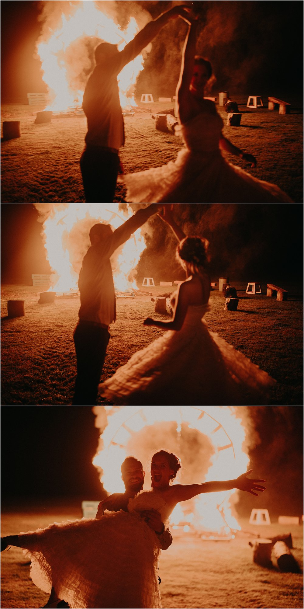 Twirling the bride in front of the burning fire installation at their wedding reception
