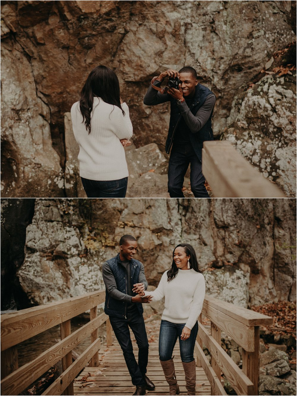 Couple takes pictures while hiking Glenn Falls Trail on Lookout Mountain, TN