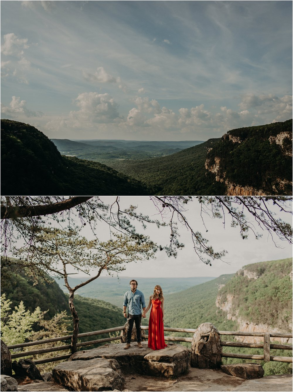 The overlook at Cloudland Canyon state park in Georgia is the backdrop for this adventurous engagement session