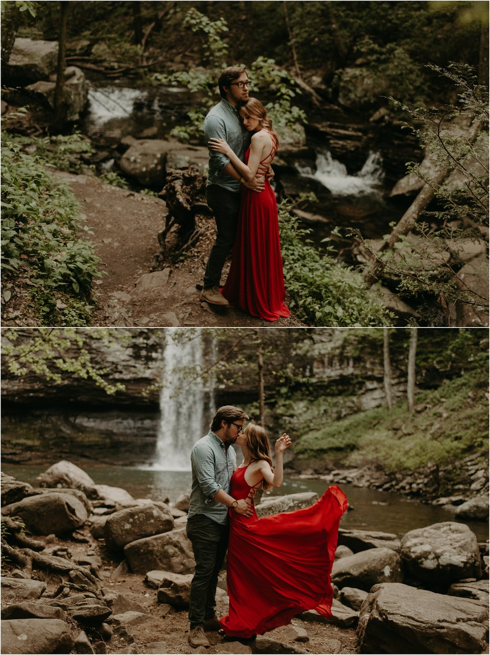 The bride wears a flowing red dress as she and her fiance embrace in front of the waterfalls at Cloudland Canyon state park in Georgia