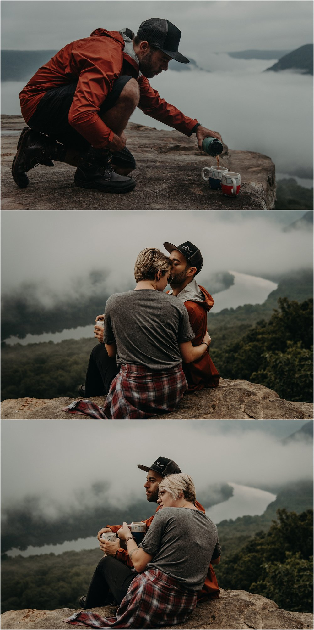Adventurous couple shares a cup of coffee at sunrise on Snooper's Rock overlooking the Tennessee River