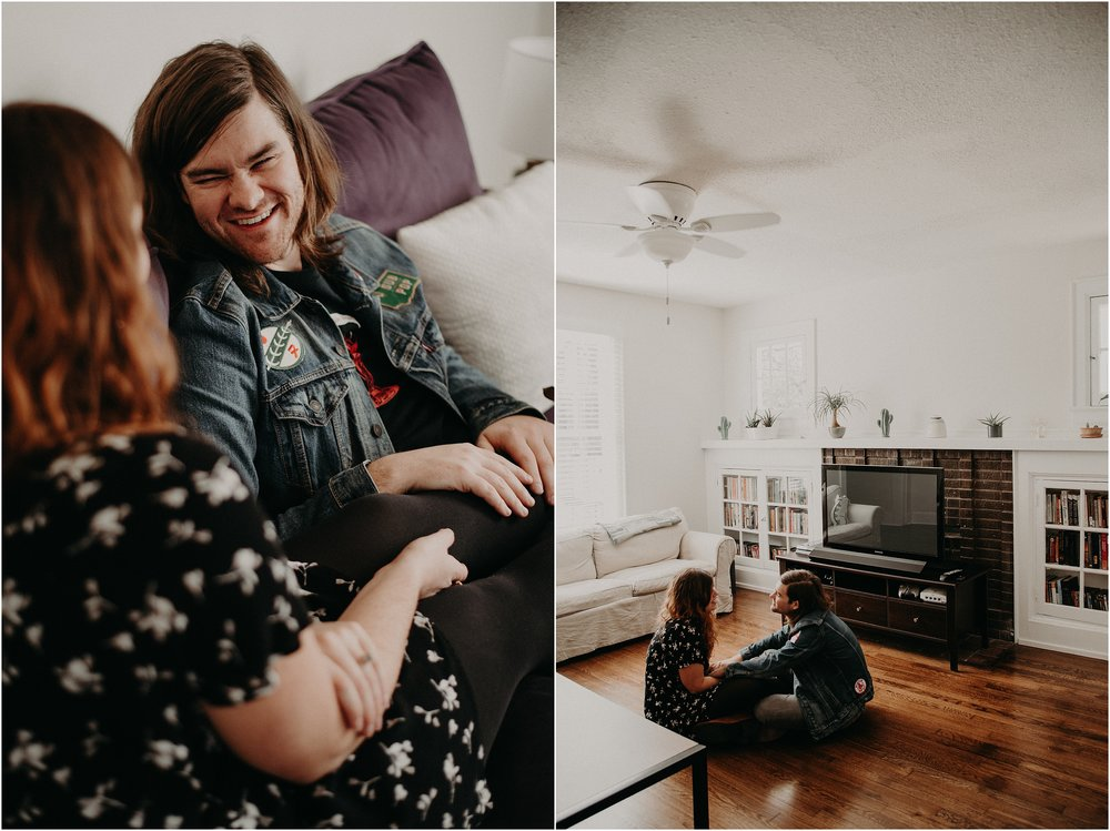 Cute couple chills in their urban bungalow for their in-home engagement session