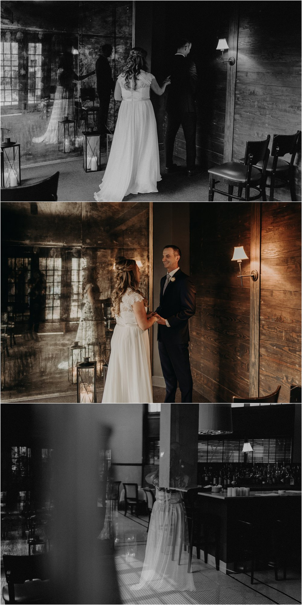 Bride and groom share a first look before their intimate elopement ceremony