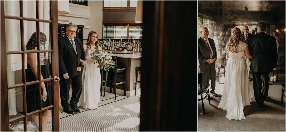 Bride's father gives her away in her elopement ceremony