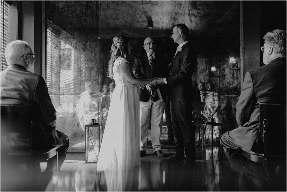 An intimate elopement ceremony in the private party room of St. John's Restaurant