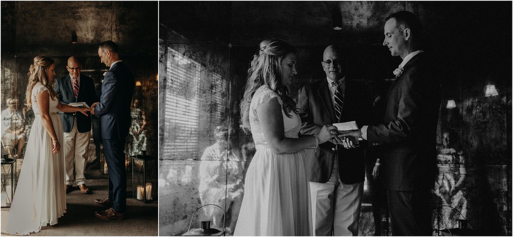 Exchanging rings during their intimate elopement ceremony