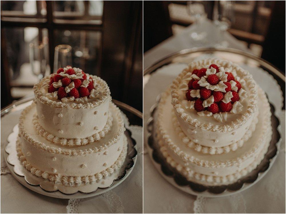 Vanilla almond and raspberry two-tiered wedding cake