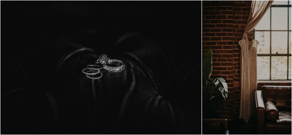 Antique vintage engagement ring and the bride's BHLDN wedding gown